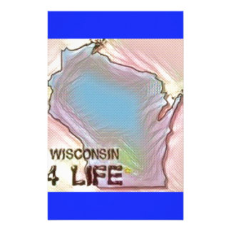"""""""Wisconsin 4 Life"""" State Map Pride Design Personalized Stationery"""