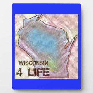 """Wisconsin 4 Life"" State Map Pride Design Plaque"