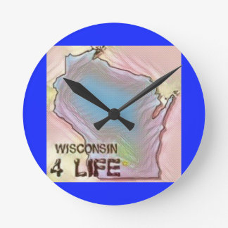 """Wisconsin 4 Life"" State Map Pride Design Round Clock"