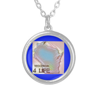 """Wisconsin 4 Life"" State Map Pride Design Silver Plated Necklace"