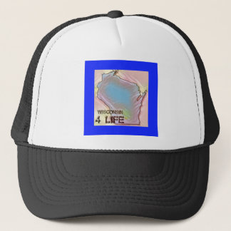 """Wisconsin 4 Life"" State Map Pride Design Trucker Hat"