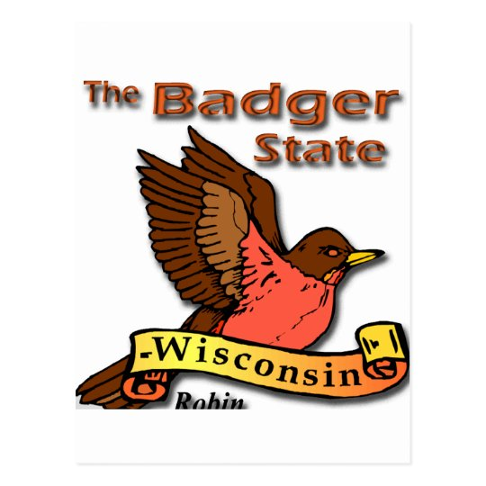 Wisconsin Badger State Robin png Postcard