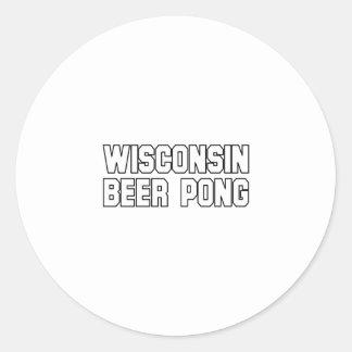 Wisconsin Beer Pong Round Stickers