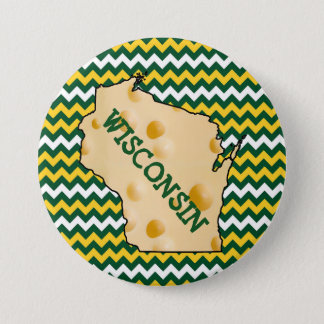 Wisconsin Cheesehead Button Green and Gold