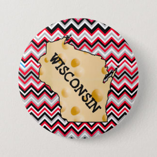 Wisconsin Cheesehead Button Red and Black