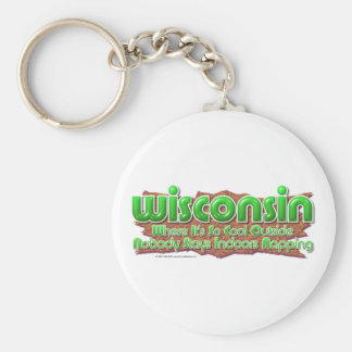 Wisconsin Cool Basic Round Button Key Ring