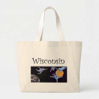 Wisconsin Cows in Space Jumbo Tote Bag