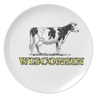 Wisconsin dairy cow plate
