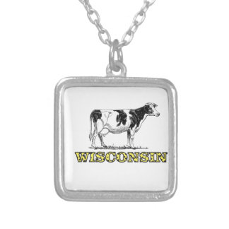 Wisconsin dairy cow silver plated necklace