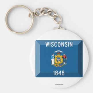 Wisconsin Flag Gem Basic Round Button Key Ring
