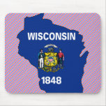 Wisconsin Flag Map Mouse Pads