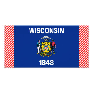 Wisconsin Flag Personalized Photo Card