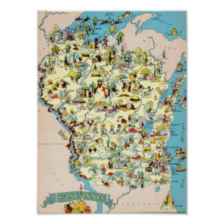 Wisconsin Funny Vintage Map Poster