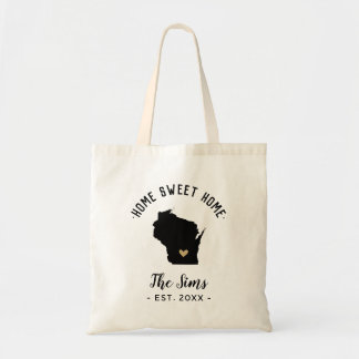 Wisconsin Home Sweet Home Family Monogram Tote Bag