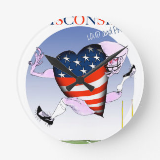 wisconsin loud and proud round clock