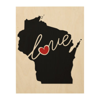 Wisconsin Love!  Gifts for WI Lovers Wood Prints