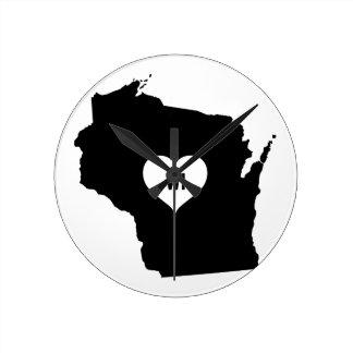 Wisconsin Love Round Clock