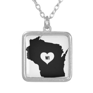 Wisconsin Love Silver Plated Necklace