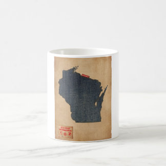 Wisconsin Map Denim Jeans Style Coffee Mugs