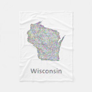 Wisconsin map fleece blanket