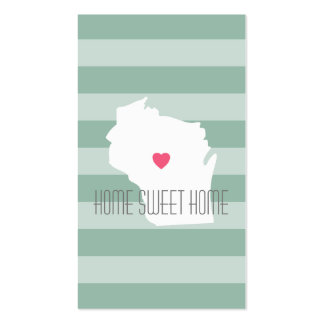 Wisconsin Map Home State Love with Custom Heart Pack Of Standard Business Cards