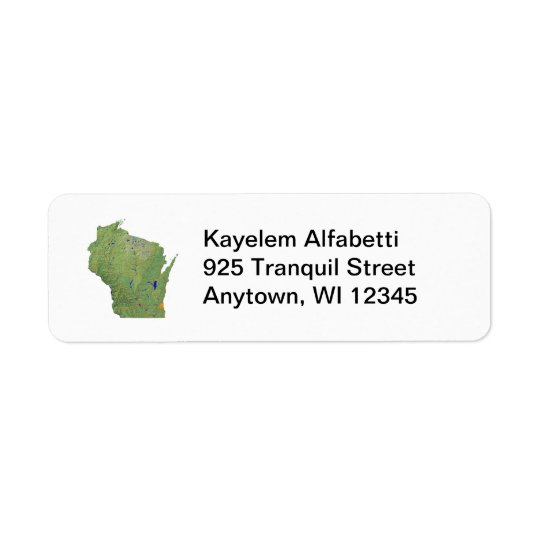 Wisconsin Map Return Address Label