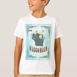 Wisconsin Map With Lovely Birds Tee Shirt