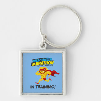 Wisconsin Marathon Training Silver-Colored Square Key Ring