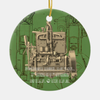 Wisconsin Motor Milwaukee Wisconsin gas engine  K Ceramic Ornament