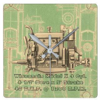 Wisconsin Motor Milwaukee Wisconsin gas engine X Square Wall Clock