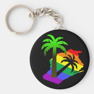 Wisconsin Palm Tree Basic Round Button Key Ring