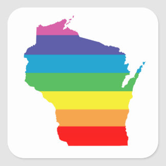 wisconsin rainbow square sticker