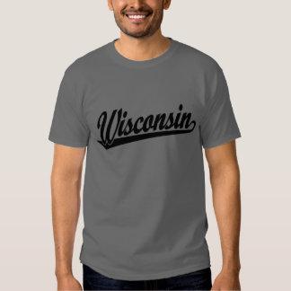 Wisconsin script logo in black shirt