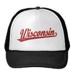 Wisconsin script logo in red trucker hats