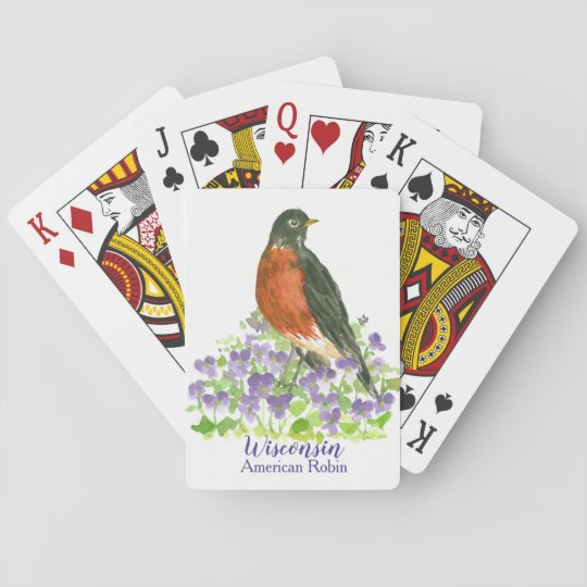 Wisconsin State Bird American Robin Playing Cards