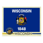 Wisconsin State Flag and Seal Post Card