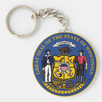Wisconsin state flag seal united america country r basic round button key ring