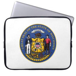 Wisconsin state flag seal united america country r laptop computer sleeves