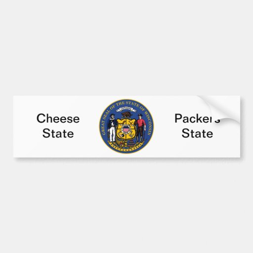 Wisconsin State Seal and Motto Bumper Stickers