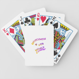 Wisconsin usa world country, colorful text art bicycle playing cards