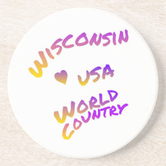 Wisconsin usa world country, colorful text art coaster