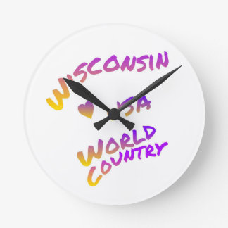 Wisconsin usa world country, colorful text art round clock