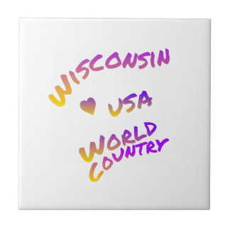 Wisconsin usa world country, colorful text art small square tile