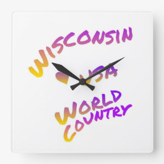 Wisconsin usa world country, colorful text art square wall clock