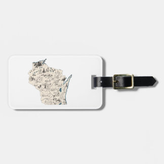 Wisconsin Vintage Picture Map Luggage Tag