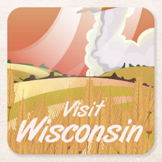 Wisconsin vintage travel poster square paper coaster