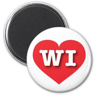 Wisconsin WI red heart Refrigerator Magnets