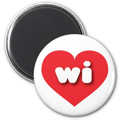 Wisconsin wi red heart magnet
