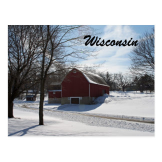 Wisconsin Winter Barn Postcard
