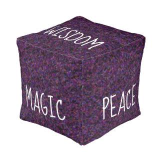 WISDOM PEACE MAGIC Cool Abstract Purple Pattern Pouf